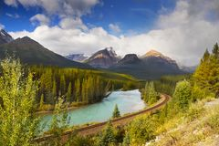 River Mountains Landscape, Banff National Park, Canada. Scenic Bow river and valley in Canadian mountains.  Canadian Rockies. Banff National Park landscape Stock Image