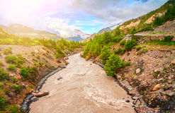 River and mountains in Nepal Stock Photo