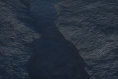 The river between the mountains at night, 3d rendering royalty free illustration