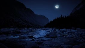 River In The Mountains At Night With Full Moon stock footage