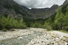 River between mountains, Pyrenees, Spain Stock Images