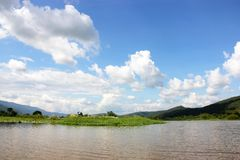 The river  mountains and the sky. Royalty Free Stock Images