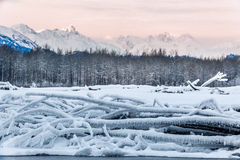 River and Mountains in snow on a sunrise. Stock Photo