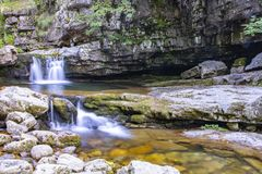 River in the mountains of soria, spain. Made in low exposition royalty free stock images