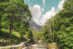 River and mountains and sun. River and mountains with sun Royalty Free Stock Image
