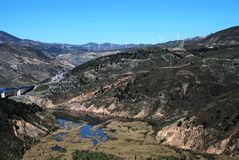 River in mountains, Velez Bonaudalla, Andalusia. Royalty Free Stock Images