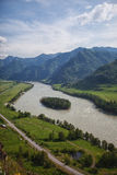 River and mountains. View of the river and the mountains of the island royalty free stock photo