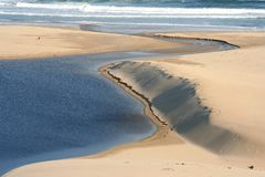 River Mouth. Beautiful sand dune with lagoon and river running into the sea Stock Image