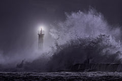 River mouth beacon at night Stock Photography