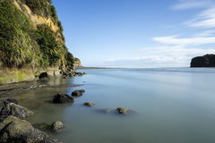 River mouth near Three Sisters and The Elephant, New Plymouth, New Zealand Royalty Free Stock Images