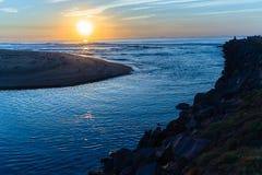 River Mouth Ocean Sunrise Landscape Stock Photo
