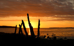 River Mouth Warm Sunset Royalty Free Stock Photography