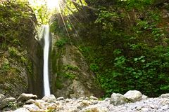 Cataract viewing,cataract picture,cataract image,water leap viewing,water leap picture,pollino,calabria,italy. Nature reserve of the river Argentine . orsomarso Royalty Free Stock Image