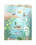 River nature of its inhabitants. royalty free illustration