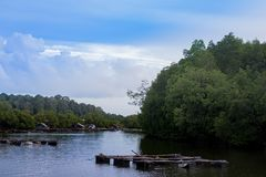 River nature view with wooden pier, tree and mountain. River nature view with wooden pier, tree, mountain and blue sky stock images