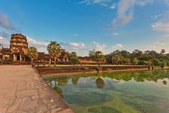 River near ancient buddhist khmer temple in Angkor Wat complex Stock Images