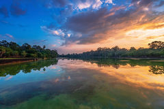 River near ancient buddhist khmer temple in Angkor Wat complex. Cambodia Stock Photography