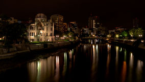 River near the Hiroshima Peace Dome at night Stock Photos