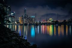 River near night city royalty free stock images