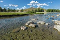 River near the village of Ulugun in the Altai Mountains Royalty Free Stock Photos