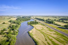 River in Nebraska Sandhills. Aerial landscape of Nebraska Sandhills with the Middle Loupe River near Dunning stock photos