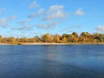 River Nemunas and colorful autumn trees, Lithuania Stock Photography