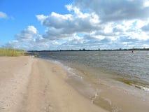 River  Nemunas and beautiful cloudy sky, Lithuania Stock Photos