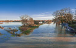 River Nene overflowing Royalty Free Stock Images