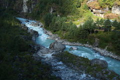 River from nepal in everest  trek Royalty Free Stock Photography