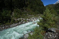 River from nepal in everest trek Royalty Free Stock Images