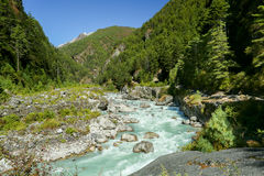 River from nepal in everest trek Royalty Free Stock Photo