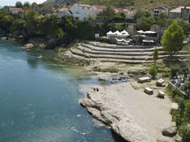 River Neretva. In Bosnia and Herzegovina, is one of the last pure green river in Europe.This photo was taken from old bridge in Mostar city.River is very very Royalty Free Stock Images