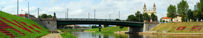 River Neris and bridge over. Vilnius Royalty Free Stock Photography