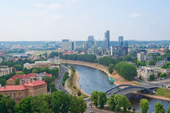 River Neris and Vilnius downtown Stock Photos
