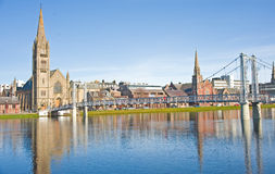 River Ness and Greig Street Bridge in Spring. Stock Photo