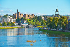 River Ness and Inverness Castle. Inverness on a pleasant Autumn day with chapel of rest,  River Ness and the historic Castle Royalty Free Stock Photos