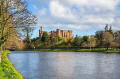 River Ness in Inverness, Scotland. River Ness and Inverness Castle on a winter morning Stock Photo