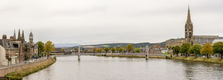 River Ness panorama in autumn season, Inverness, Scotland stock images