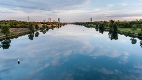 River Neue Donau in Vienna Austria on a calm day. In summer Stock Images