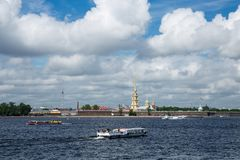 River Neva And Peter And Paul Fortress In St.Petersburg At Sunny Royalty Free Stock Image