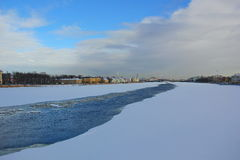 The river Neva is covered with ice and snow Royalty Free Stock Photo
