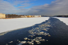 The river Neva is covered with ice and snow Royalty Free Stock Images