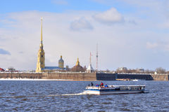 River Neva and Peter and Paul Fortress. Stock Photo