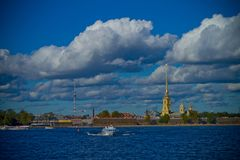 River and city Saint-Petersburg Royalty Free Stock Images