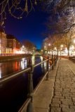 River at night. The river Fyris in Uppsala, Sweden, late at night in the early spring Royalty Free Stock Photography