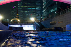 By the river. At night, this culture rich stream through the Seoul is illuminated with hundreds of small lights and effects, all to create a rich and romantic stock photography