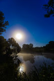 River at night with fog Royalty Free Stock Photos