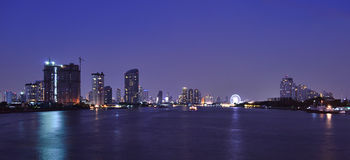River night scape. In bangkok,Thailand stock photography