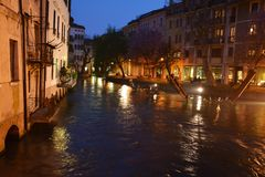 River by night in Treviso, Italy Royalty Free Stock Image
