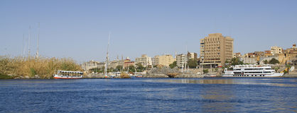 The river Nil at Assuan in Egypt Royalty Free Stock Images
